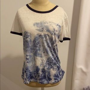 Free people blue and white print shirt